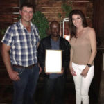 Ben Mahikanneng from GP Viljoen Farms at Noupoort won the first prize for Junior Management. Here he is (centre) with Mrs Lenske Viljoen of GP Viljoen Farms (right) and Albert Oosthuizen , Manager Noupoort